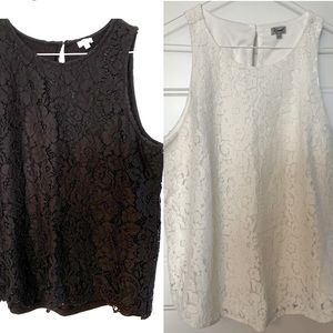 Pair of black and white tops